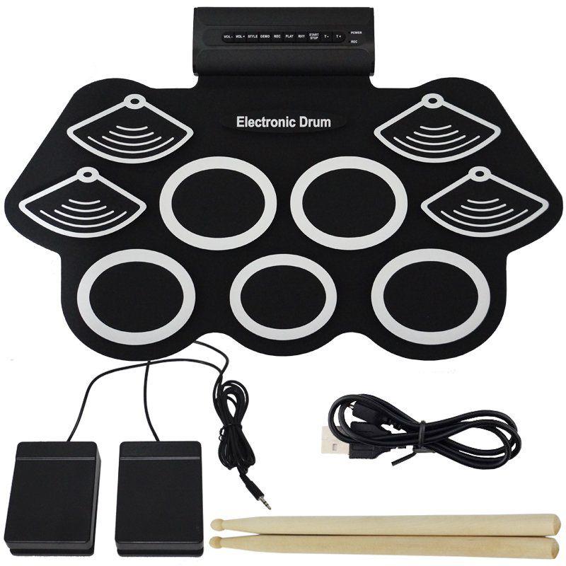 Bateria Eletrônica Musical Portátil Silicone Digital Drum 9 Pads 2 Pedais Baqueta KH-W562 Preta