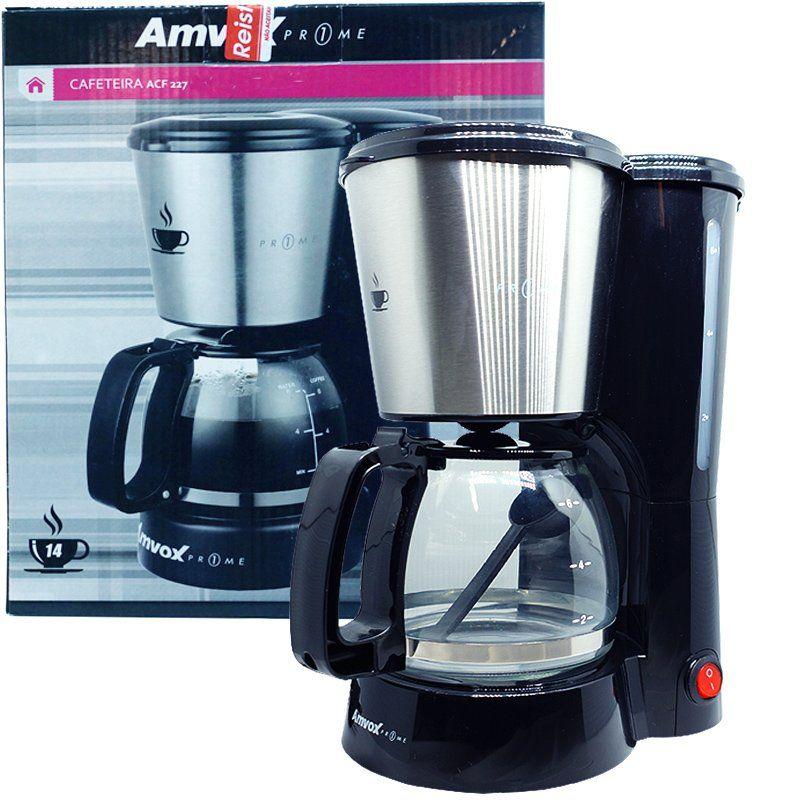 Cafeteira Elétrica 220V 14 Xícaras Café Amvox Nova com Colher Dosadora ACF 227-2 Inox
