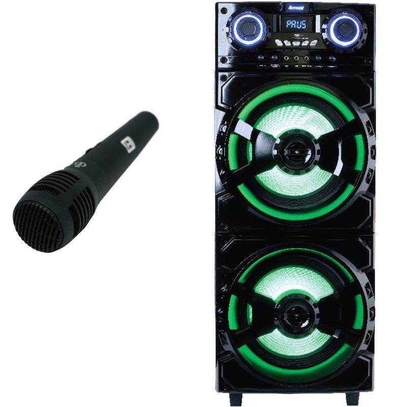 Caixa Som Amplificada Bluetooth 1000W Rms Mp3 Fm Usb Sd Aux Led Bivolt ACA 1001 Preta + 2 Microfone