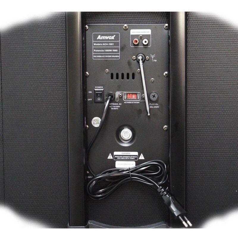 Caixa Som Amplificada Bluetooth 1000W Rms 2 Sub Mp3 Fm Usb Sd Aux Led Bivolt Amvox ACA 1001 Preta
