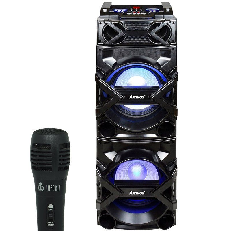 Caixa Som Amplificada Bluetooth 600W Rms Mp3 Fm Usb Sd Aux Led Bivolt ACA 600 Preta + 2 Microfone