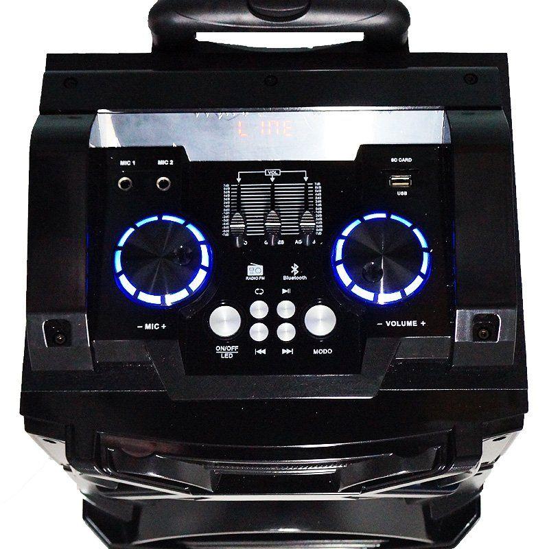 Caixa Som Amplificada Bluetooth 600W Rms Mp3 Fm Usb Sd Aux Led Bivolt Amvox ACA 600 Preta