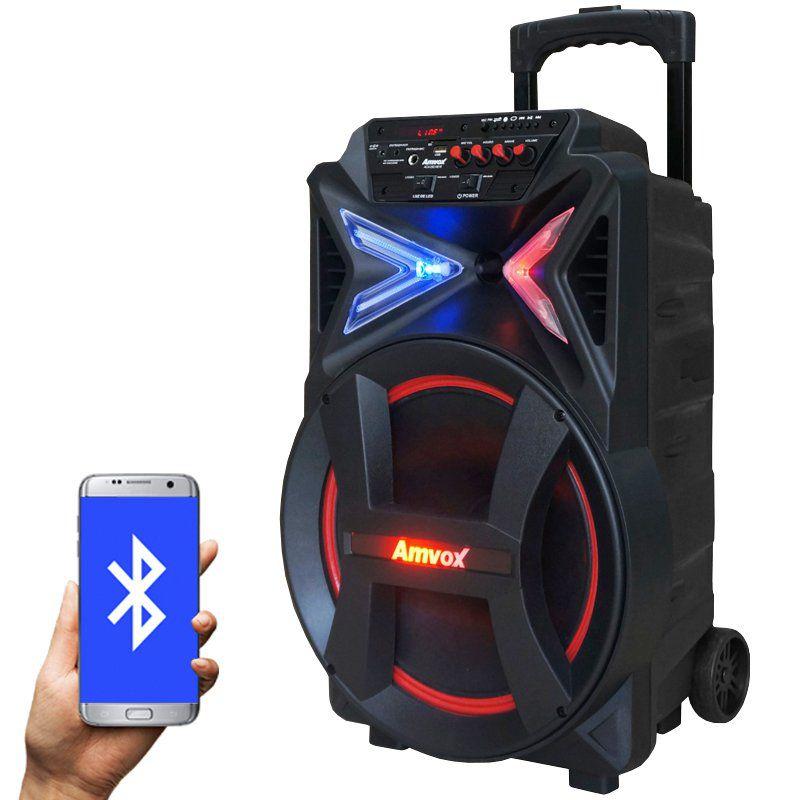 Caixa Som Amplificada Portátil Bluetooth 290W Rms Mp3 Fm Usb Sd Aux Led Bateria Amvox ACA 292 NEW