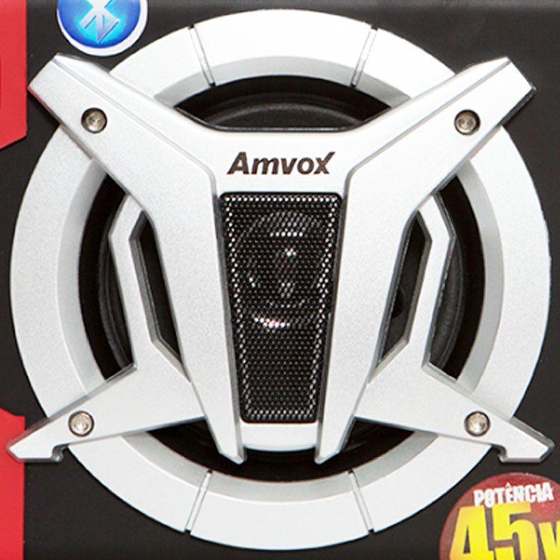 Caixa Som Amplificada Portátil Bluetooth 45W Rms Mp3 Fm Usb Sd Aux Bivolt Recarregável Amvox ACA 90