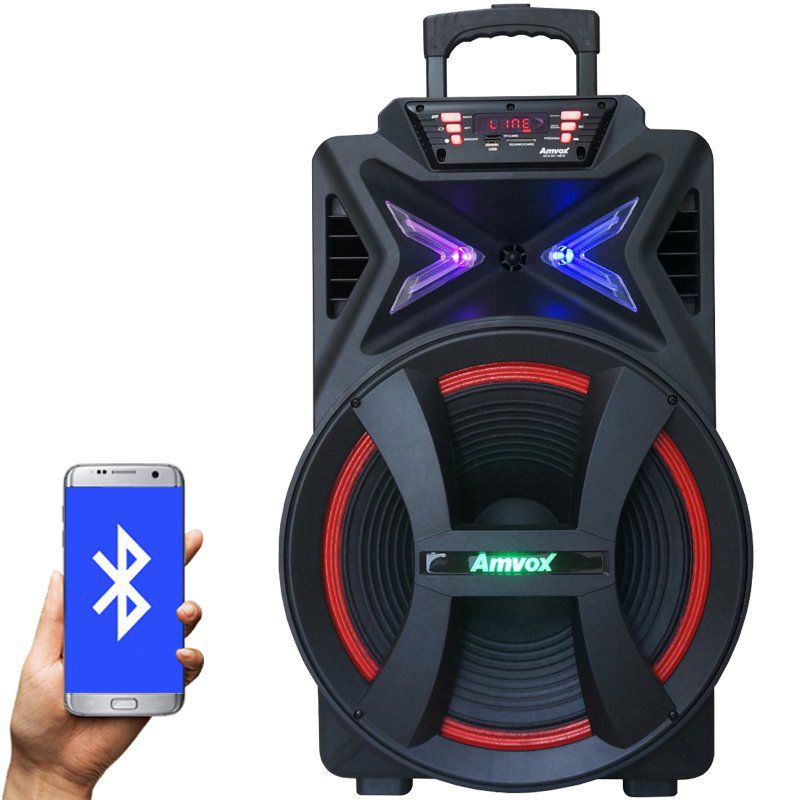 Caixa Som Amplificada Portátil Bluetooth 500W Rms Mp3 Fm Usb Sd Aux Led Bateria Amvox ACA 501 NEW