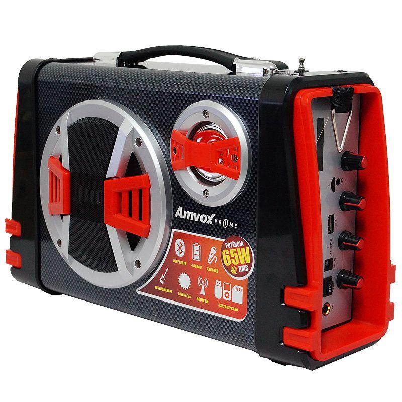 Caixa Som Amplificada Portátil Bluetooth 65W Rms Mp3 Fm Usb Sd Aux Bateria Microfone Amvox ACA 120
