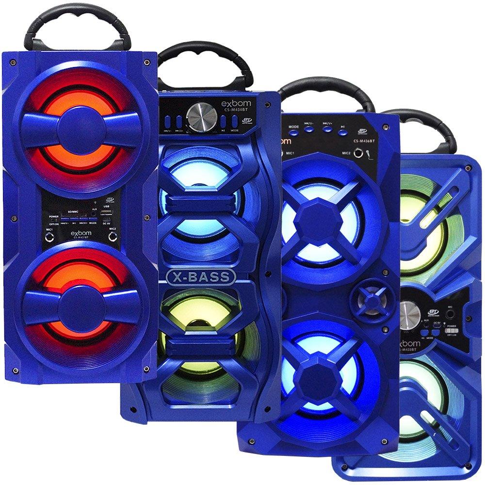 Caixa Som Amplificada Portátil Bluetooth Mp3 Fm Usb Sd Aux Bateria 10W Rms Exbom