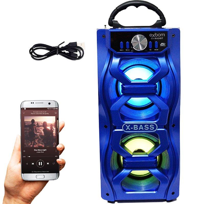 Caixa Som Amplificada Portátil Bluetooth Mp3 Fm Usb Sd Aux Bateria 10W Rms Exbom Azul CS-M434BT