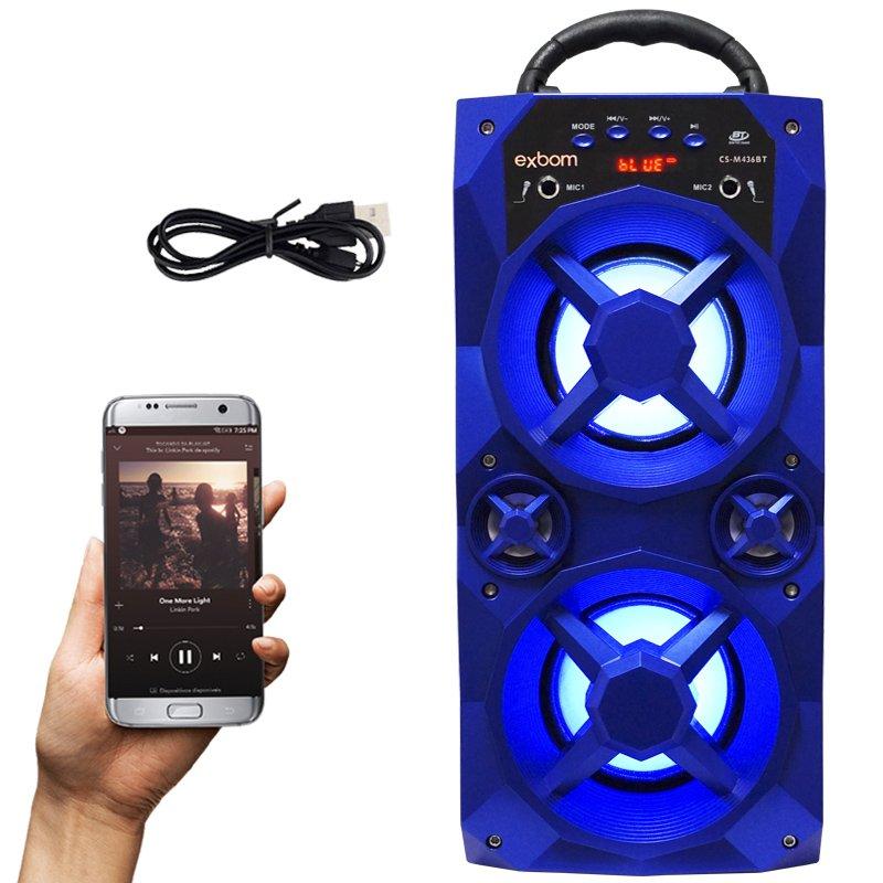 Caixa Som Amplificada Portátil Bluetooth Mp3 Fm Usb Sd Aux Bateria 10W Rms Exbom Azul CS-M436BT