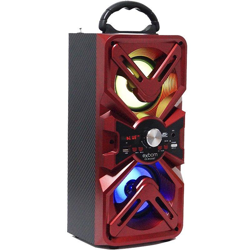Caixa Som Amplificada Portátil Bluetooth Mp3 Fm Usb Sd Aux Bateria 10W Rms Exbom CS-M435BT