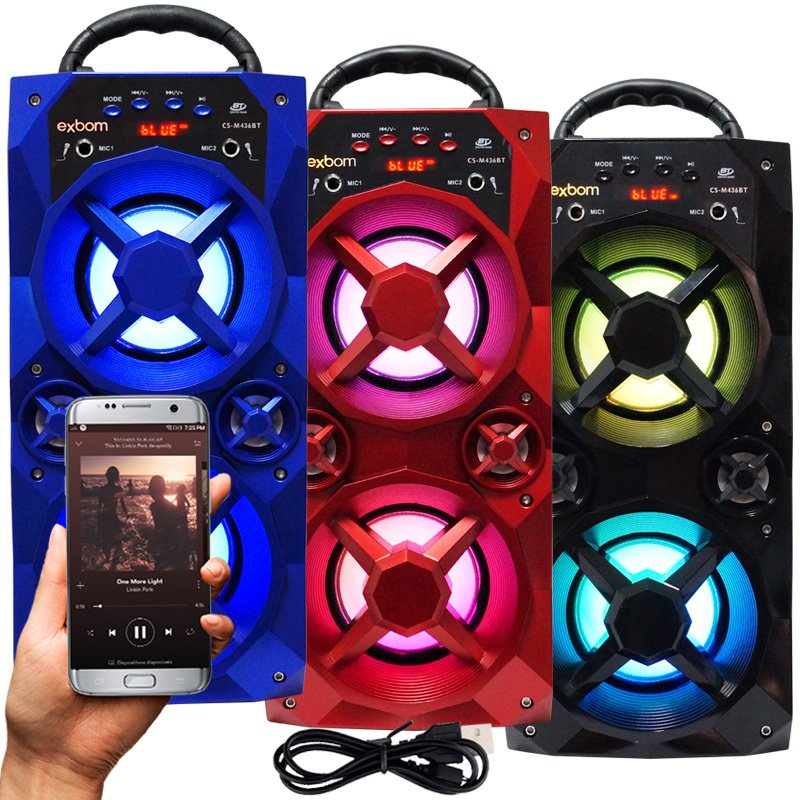 Caixa Som Amplificada Portátil Bluetooth Mp3 Fm Usb Sd Aux Bateria 10W Rms Exbom CS-M436BT
