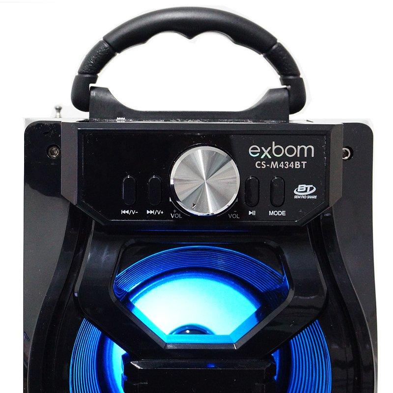 Caixa Som Amplificada Portátil Bluetooth Mp3 Fm Usb Sd Aux Bateria 10W Rms Exbom Preta CS-M434BT