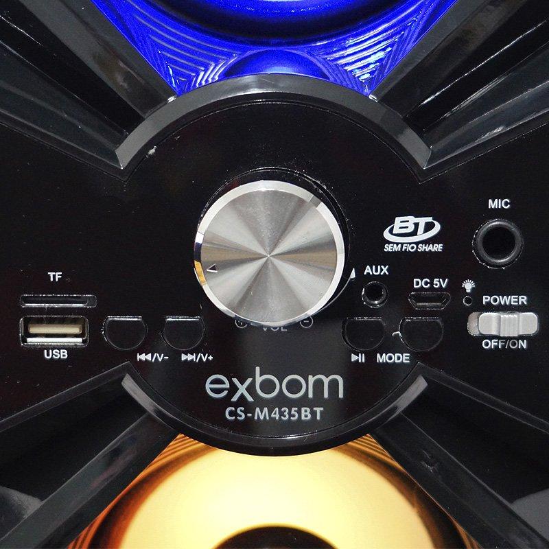 Caixa Som Amplificada Portátil Bluetooth Mp3 Fm Usb Sd Aux Bateria 10W Rms Exbom Preta CS-M435BT