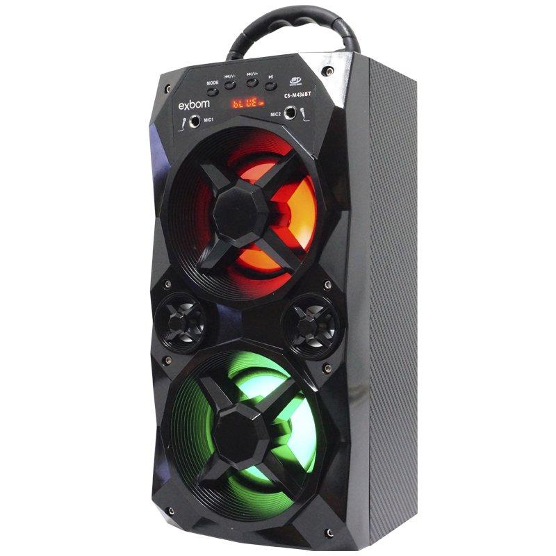 Caixa Som Amplificada Portátil Bluetooth Mp3 Fm Usb Sd Aux Bateria 10W Rms Exbom Preta CS-M436BT
