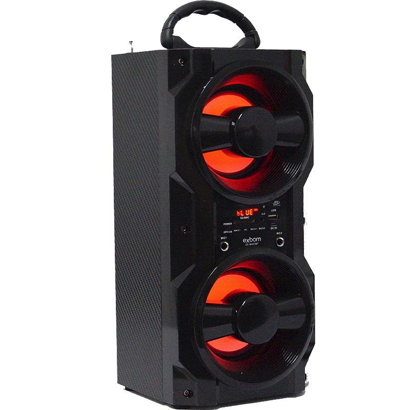 Caixa Som Amplificada Portátil Bluetooth Mp3 Fm Usb Sd Aux Bateria 10W Rms Exbom Preta CS-M437BT
