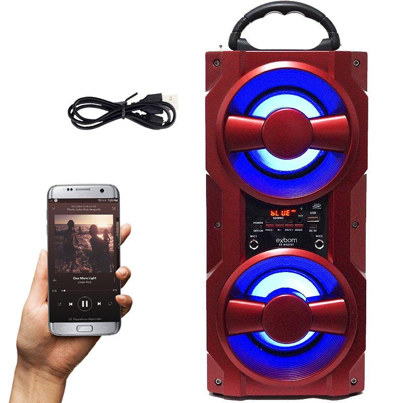 Caixa Som Amplificada Portátil Bluetooth Mp3 Fm Usb Sd Aux Bateria 10W Rms Exbom Vermelha CS-M437BT