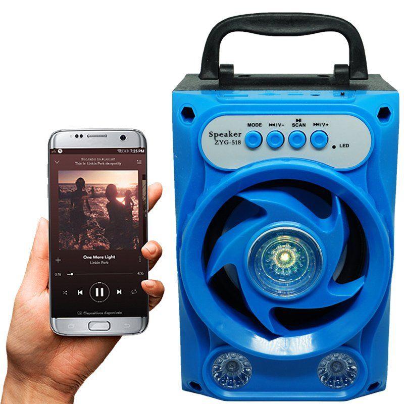 Caixa Som Amplificada Portátil Bluetooth Mp3 Fm Usb Sd Aux Bateria 5W Rms ZYG-518 Azul