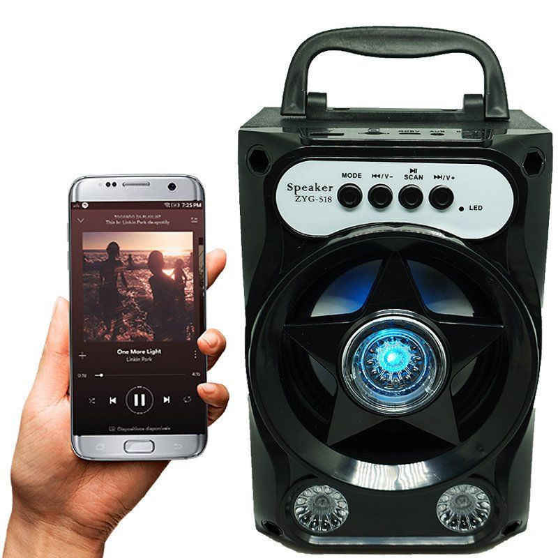 Caixa Som Amplificada Portátil Bluetooth Mp3 Fm Usb Sd Aux Bateria 5W Rms ZYG-518 Preta