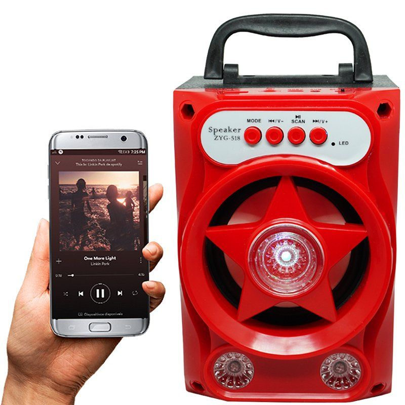Caixa Som Amplificada Portátil Bluetooth Mp3 Fm Usb Sd Aux Bateria 5W Rms ZYG-518 Vermelha