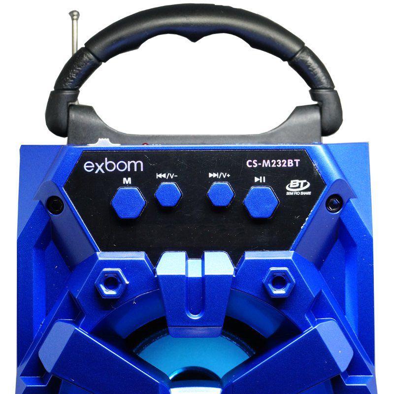 Caixa Som Amplificada Portátil Bluetooth Mp3 Fm Usb Sd Aux Bateria 8W Rms + 1 Microfone