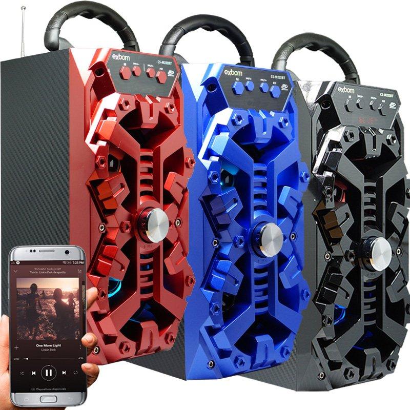 Caixa Som Amplificada Portátil Bluetooth Mp3 Fm Usb Sd Aux Bateria 8W Rms Exbom