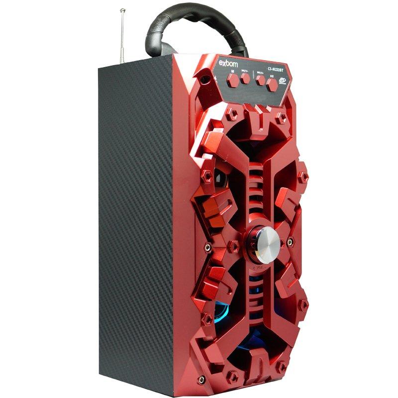 Caixa Som Amplificada Portátil Bluetooth Mp3 Fm Usb Sd Aux Bateria 8W Rms Exbom Vermelha CS-M232BT