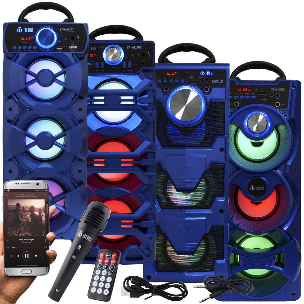 Caixa Som Portátil Bluetooth Amplificada Mp3 Fm Usb Sd Microfone Bateria 18W Rms Azul Infokit  - BEST SALE SHOP