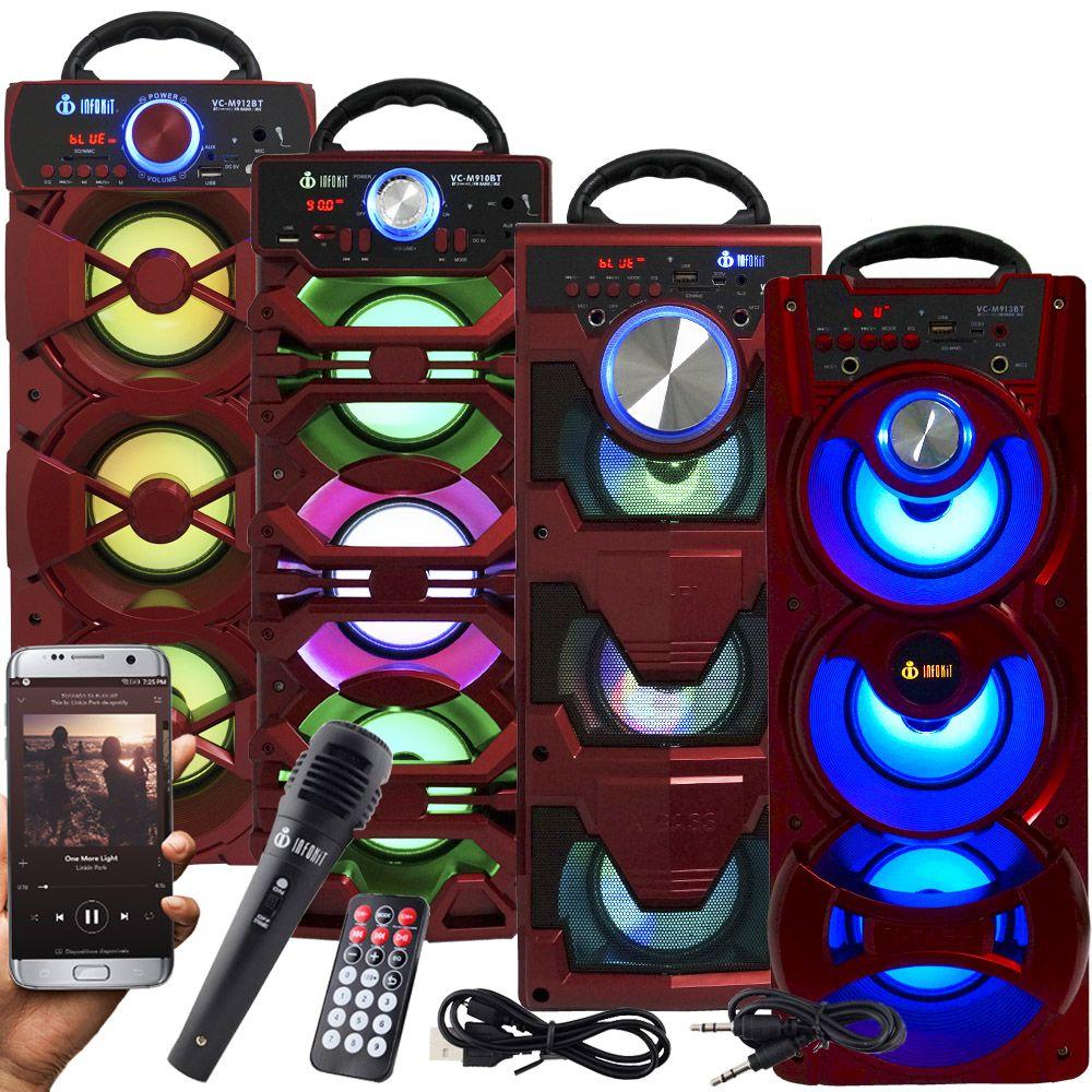 Caixa Som Portátil Bluetooth Amplificada Mp3 Fm Usb Sd Microfone Bateria 18W Rms Vermelha Infokit