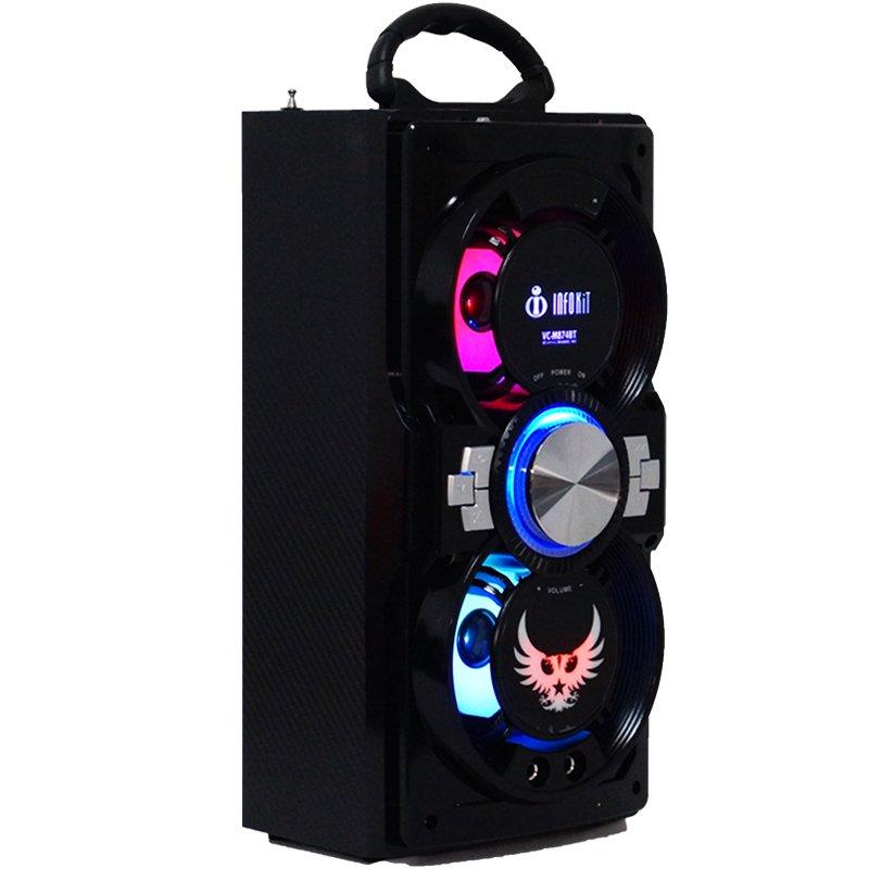 Caixa Som Portátil Bluetooth Mp3 Fm Usb Sd Aux Microfone Bateria 12W Rms Infokit Preta VC-M874BT