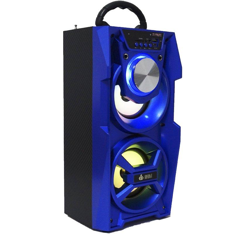 Caixa Som Portátil Bluetooth Mp3 Fm Usb Sd Aux Microfone Bateria 12W Rms Infokit VC-M867BT