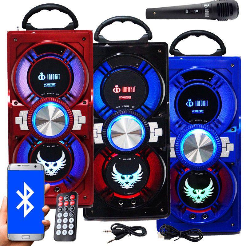 Caixa Som Portátil Bluetooth Mp3 Fm Usb Sd Aux Microfone Bateria 12W Rms Infokit VC-M874BT