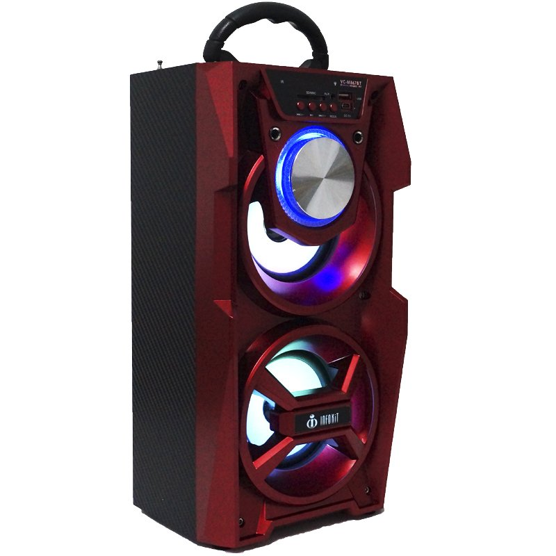 Caixa Som Portátil Bluetooth Mp3 Fm Usb Sd Aux Microfone Bateria 12W Rms Infokit Vermelha VC-M867BT