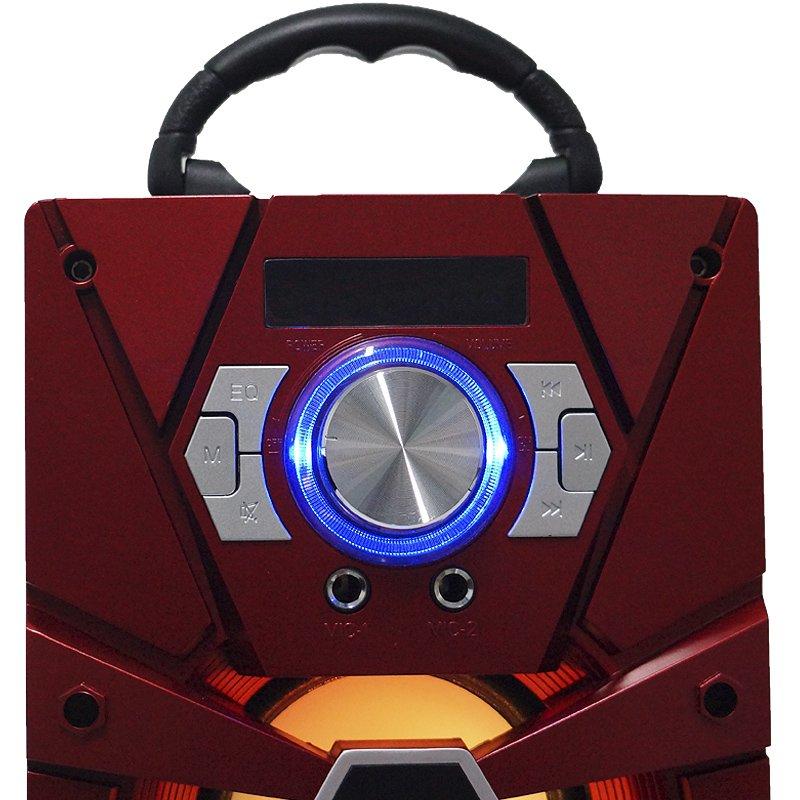 Caixa Som Portátil Bluetooth Mp3 Fm Usb Sd Aux Microfone Bateria 12W Rms Infokit Vermelha VC-M875QBT