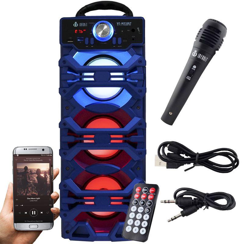 Caixa Som Portátil Bluetooth Mp3 Fm Usb Sd Microfone Bateria 18W Rms Infokit Azul VC-M910BT  - BEST SALE SHOP