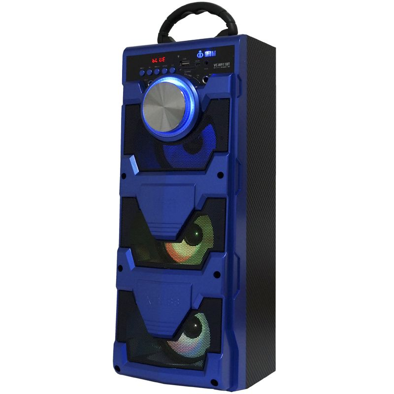 Caixa Som Portátil Bluetooth Mp3 Fm Usb Sd Microfone Bateria 18W Rms Infokit Azul VC-M911BT