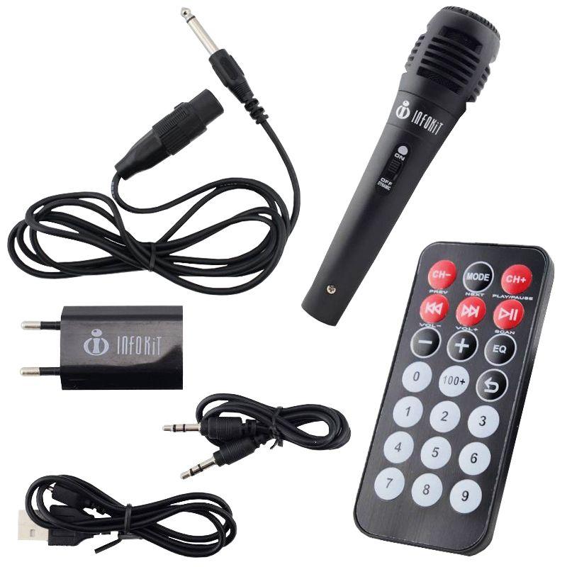 Caixa Som Portátil Bluetooth Mp3 Fm Usb Sd Microfone Bateria 18W Rms Infokit Preta VC-M911BT  - BEST SALE SHOP
