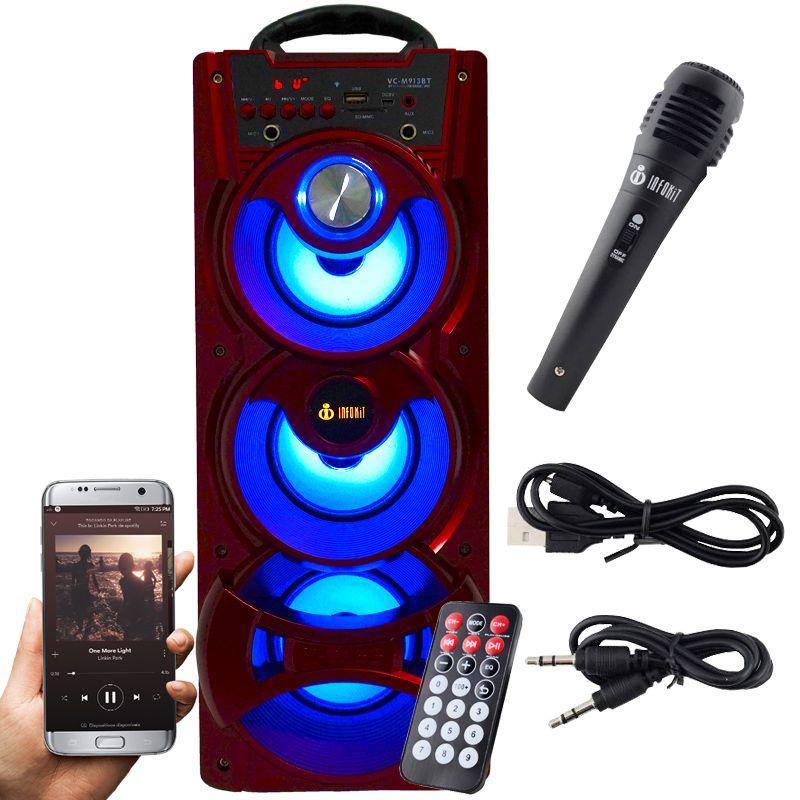 Caixa Som Portátil Bluetooth Mp3 Fm Usb Sd Microfone Bateria 18W Rms Infokit Vermelha VC-M913BT