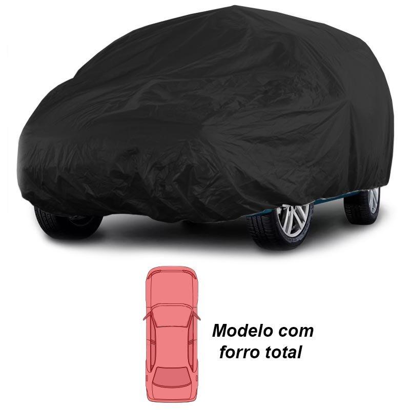 Capa Automotiva Cobrir Carro Protetora Couro Ecológico Premium Forrada Tamanho G Preta Carrhel