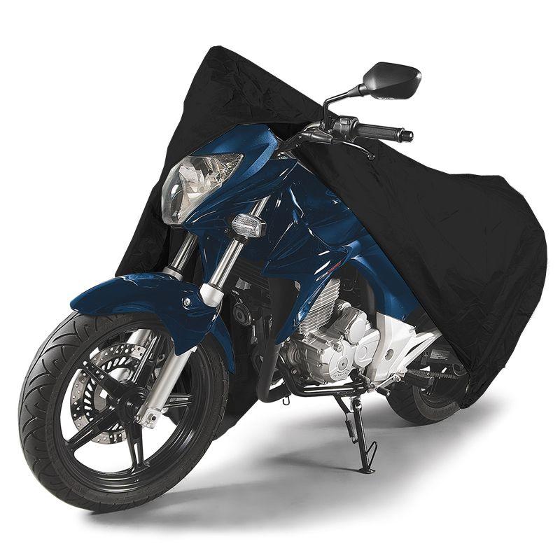 Capa de Couro Cobrir Moto Protetora Forrada Impermeável Anti Uv Tamanho G Carrhel Preta