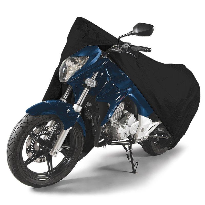 Capa de Couro Cobrir Moto Protetora Forrada Impermeável Anti Uv Tamanho GG Carrhel Preta