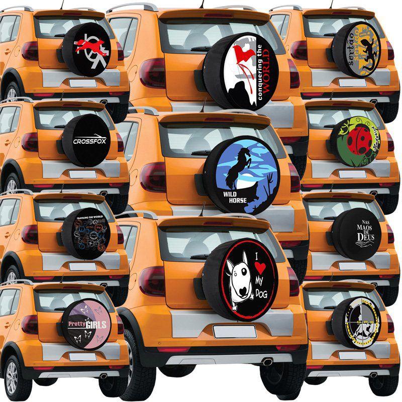 Capa Pneu Roda Estepe Volkswagen Crossfox Universal com Cadeado Anti Furto Aro 14 à 17 Carrhel