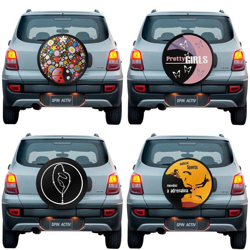 Capa Pneu Roda Estepe Chevrolet Spin Activ Universal com Cadeado Anti Furto Aro 14 à 17 Carrhel