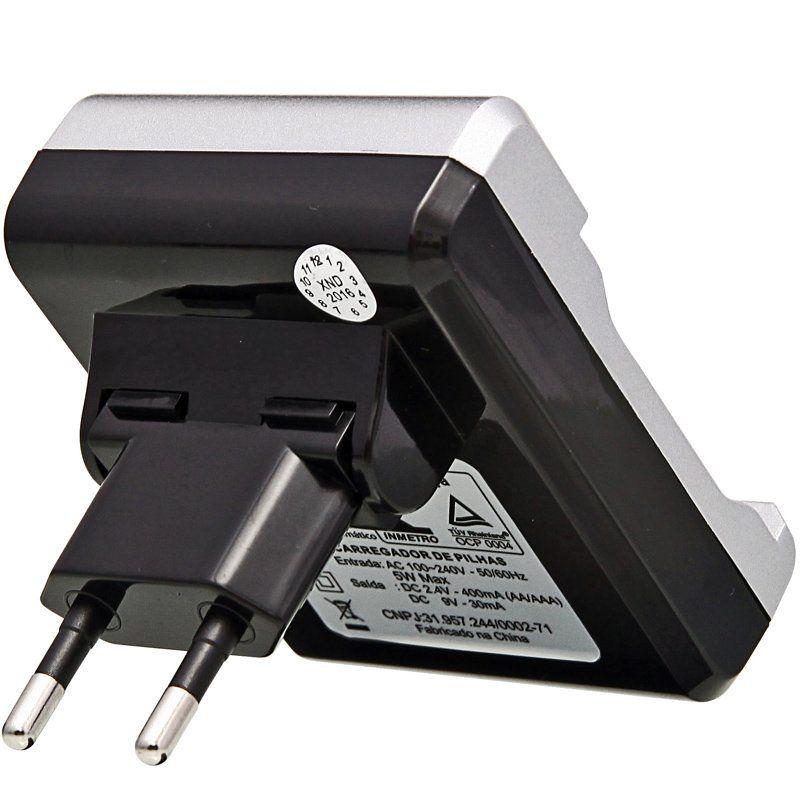 Carregador de Pilha Recarregável AAA AA Bateria 9V Bivolt + 4 Pilhas Recarregáveis AAA 1100mAh Knup