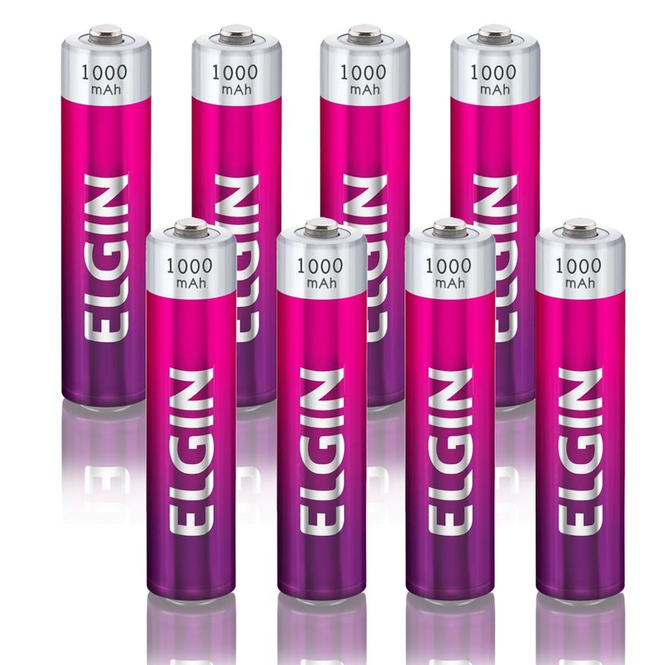 Carregador de Pilhas AAA AA Bateria 9V Bivolt com 8 Pilhas Recarregáveis AAA 1000 mAh Elgin  - BEST SALE SHOP