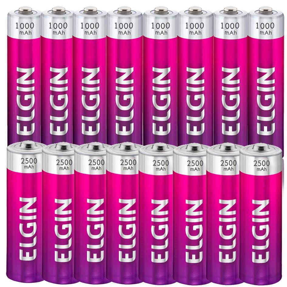 Carregador de Pilhas Recarregáveis AAA AA Bateria 9V Bivolt com 8 AA 2500 mAh + 8 AAA 1000 mAh Elgin  - BEST SALE SHOP