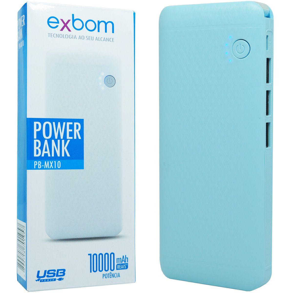 Carregador Portátil Power Bank Bateria 10000 mAh Celular 3x Usb Lanterna Exbom PB-MX10 Azul