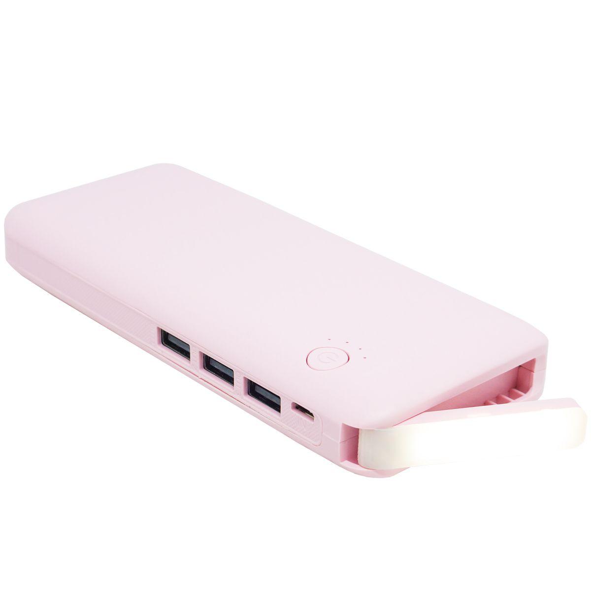 Carregador Portátil Power Bank Bateria 10000 mAh Celular 3x Usb Lanterna Exbom PB-MX10 Rosa