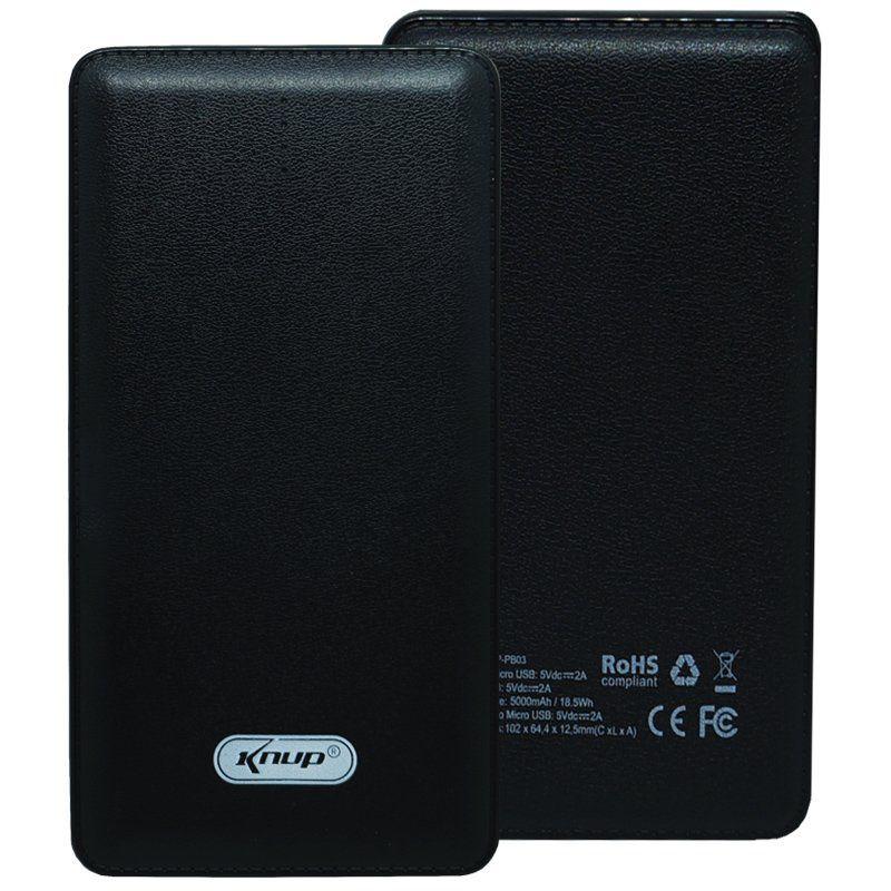 Carregador Portátil Power Bank Bateria 10000 mAh Celular Usb Lanterna Knup KP-PB01 Preto