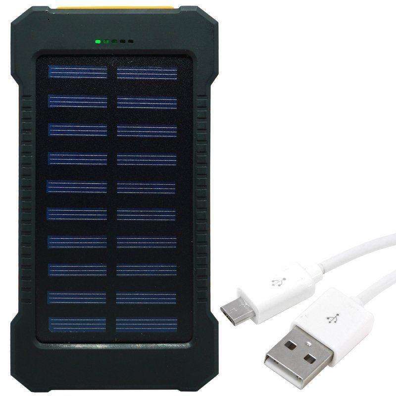 Carregador Portátil Power Bank Solar Bateria 8000 mAh Celular 2 x Usb Exbom PB-S80 Preto/Laranja