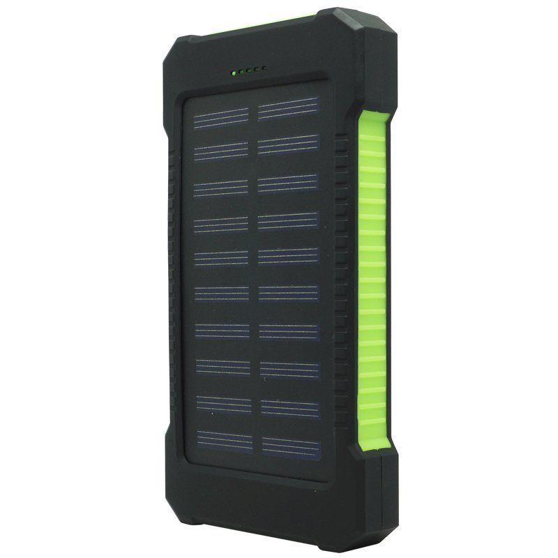 Carregador Portátil Power Bank Solar Bateria 8000 mAh Celular 2 x Usb Exbom PB-S80 Preto/Verde